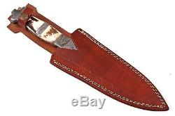 13 HAND FORGED DAMASCUS STEEL DAGGER BOOT KNIFE With STAG & DAMASCUS HANDLE -03
