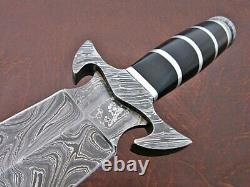 15.00 Handmade Damascus Steel Combat Tactical Hunting Dagger Knife With Sheath