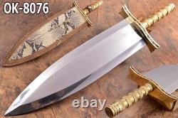 22.4 Ozair Custom D2 Steel Mirror Polish Beast Smatchet Dagger Knife Blade8076