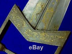 Antique 19 Century Indian India Katar Scissors Engraved Fighting Knife Dagger