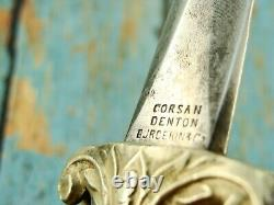 Antique CIVIL War Era Corsan Denton Burdekin English Pearl Dagger Knife Knives