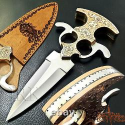 Antique Custom Made D2 Tool Steel, Out Door Camping, Tactical Dual Edge Knife
