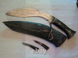 Antique Khukri Kukri Gurka Jeweled Gilt Dagger Combat Knife Early 19th Century