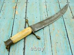Antique Spanish Military Stag Eaglehead Curved Fighting Dagger Knife Knives Old