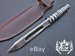 Arc Rare Hand Forged Damascus Steel Hunting Dagger Knife Kris Blade With Sheath