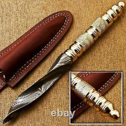 Arc's Beautifully Handmade Tri Dagger Hunting Knife Kris Blade Damascus & Brass