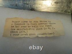 C1840 W&S BUTCHER Sheffield Fighting Bowie Knife Dagger with Original Sheath