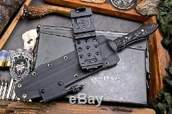 CFK Handmade D2 Tool Steel Custom Tactical Blade Dagger Knife & Kydex Sheath Set