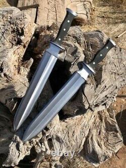 CUSTOM HANDMADE D2 STEEL HUNTING SURVIVAL DAGGER KNIFE MICARTA HANDLE With SHEATH