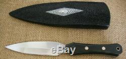 CUSTOM by LEE TACTICAL DOUBLE EDGE DAGGER, FILE KNIFE, BLACK MICARTA, STINGRAY