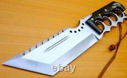 Custom D2 Steel Hunting Tracker Knife Bowie Dagger Sword Tanto Damascus Mi-31