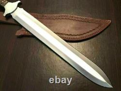 Custom Hand Made 1095 Steel Double Edge Dagger Sword Knife Camping Hunting Sword