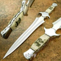 Custom HandMade D2 STeel Hunting Dagger Knife Rod With Amazing Ram Horn Handle