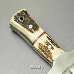 Custom Handmade D2 Steel Dagger Knife with Leather Sheath Full Tang Stag/Antler