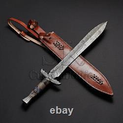 Custom Handmade Damascus Combat Sword Knife 26 With Camel Bone Handle