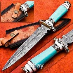 Custom Handmade Damascus Steel Hunting Dagger Knife with Blue Turquoise Handle
