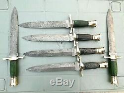 Custom Handmade Damascus Steel Lot Of 6 Dagger Knives 13.5 Pakka Wood Handle