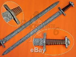 Custom Handmade Damascus Steel Viking Sword Knife 38.00 With Leather wrap hndl