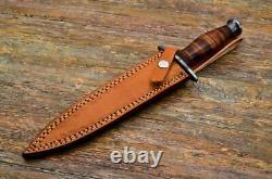 Dagger -Custom Handmade Damascus Steel Dagger Knife & Sheath Leather Roll Handle