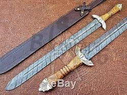 Damascus Custom Handmade 32 Inches Olive Wood Handle Viking Sword Knife