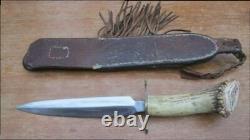 FINEST Vintage 1977 Custom Carved Figural Boar-Hunting Dagger Knife Signed MJW