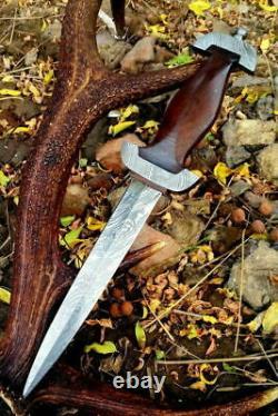 German Ss Dagger Damascus Steel Blade Knife Custom Handmade Rose Wood Handle