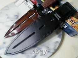 Gil Hibben Hellfyre Damascus Double Shadow Dagger Knife GH0453RD Clip Sheath New