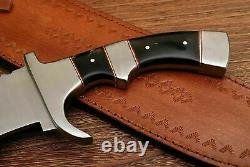 Hunting Custom Handmade D2 Steel Hunting Knife & Sheath Buffalo Horn Handle