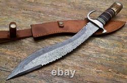 Kukri -Custom Handmade Damascus Steel Kukri Knife & Sheath Stag Horn Handle
