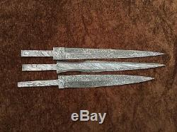 Lot of 3 Handmade Damascus Steel Historical Dagger Blank Blades Knife making 3B2