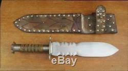 MASSIVE Old Vintage Custom Hand-forged Carbon Steel Dague Dagger Smatchet Knife