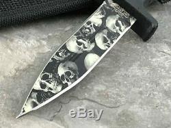 MTECH SKULL DAGGER 9 Fixed Blade DOUBLE Edge TACTICAL BOOT Knife + Sheath New