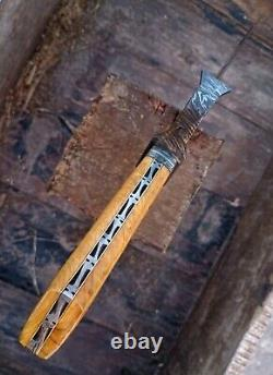 Olive Wood Custom Handmade Damascus Steel Hunting Toothpick Dagger Knife 17.5