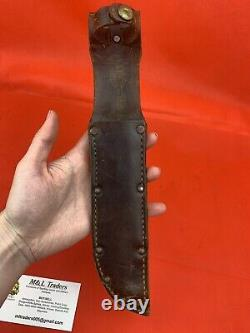 Original WW2 USMC Fighting Knife Dagger Camillus Leather Scabbard