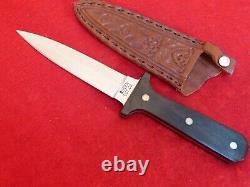 Queen USA wood full tang mint double edge dagger knife & sheath
