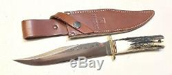 Rare! Vintage 1980 Special USMC Al Mar Fighting Dagger Knife Stag Sheath