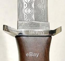 Rare Vintage Boker Solingen Damast Applegate Fairbarn LE Boot Dagger Knife Case