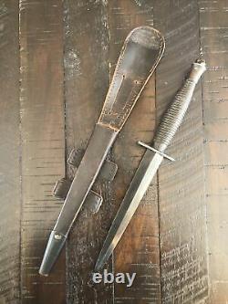Rare WW2 British Fairbairn Sykes FS Fighting Knife Dagger 3rd Pattern w Scabbard