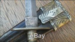 Sm. Antique JOSEPH ALLEN & SON Sheffield Prostitute's Dagger Knife withFINE Sheath