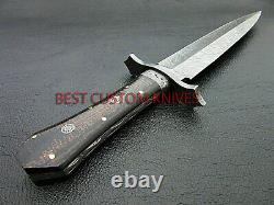 Superb, Hand Forged Damascus Steel Blade, Feather Pattern, Dagger Knife