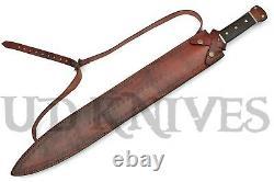 UD Custom Handmade Damascus Steel Massive Fuller Dagger Knife Sword Rams Horn 13