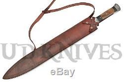 UD Custom Handmade Damascus Steel Massive Large Dagger Knife Sword Rams Horn 06