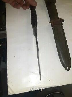 UNMARKED M3 Trench Fighting Knife Dagger With USM8 Scabbard LOOK HARD TO FIND