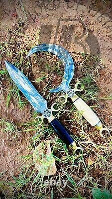 Ubr Handmade Crescent Moon Dagger Ritual Athame Boline Curved Knife Horn Handle