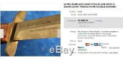 Ultra rare WW2 USM3 Guard and Blade marked Utica Fighting Knife, Trench Dagger
