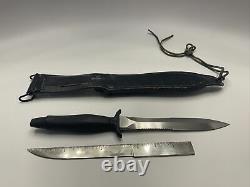 VTG Gerber Mark II Survival 1980 Commando Knife Dagger Serrated & Leather Sheath