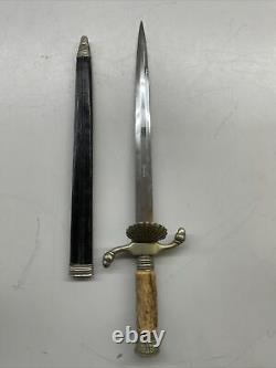 Vintage BLACK FOREST Solingen Short Sword Dagger Knife with Leather Sheath MINT