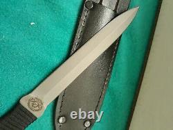 Vintage EK Commando dagger Knife-Pig Sticker-Black cord wrapped handle-sheath