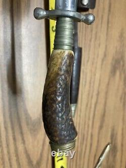 Vintage Kris Dagger Made In Germany Latama Knife 4 1/4 Blade With Original Sheath