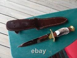 Vintage LINDER Solingen Germany 440 DAGGER Knife withsheath MINT STAG handle